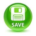Save (floppy disk icon) glassy green round button