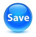Save glassy cyan blue round button