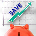 Save graph means more discounts specials and bargains meaning Royalty Free Stock Images