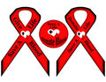 Save life give donate blood illustrated ribbons button red black white hearts black cross drop blood transparent png file Stock Photography