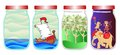 Save the memories of summer. Vector allegorical illustration with sea, ship, forest and tropical animals in jar.