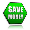 Save money in green hexagon banner Royalty Free Stock Photo