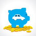 Save money in piggy bank for purchase car Royalty Free Stock Photo