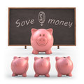 Save money piggy bank teaching students to clipping path included Stock Photography