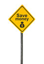 Save money road sign. Royalty Free Stock Photo