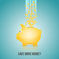 Save more money vector illustration of gold piggybank with pourings of gold coins Stock Photo