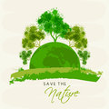 Save Nature concept with trees and globe.