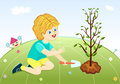 Save our green planet - boy planting tree Stock Photography