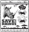 Save our rhinos design with rhino elements thorns and barbed wire and message saying two colour print Royalty Free Stock Image