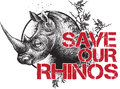 Save our rhinos design with rhino face and message saying two colour print Stock Photos
