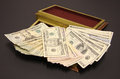 Save a pile of money in the box Royalty Free Stock Photo