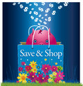 Save and shop piggy bank leaving in a shopping bag Stock Photos
