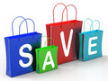 Save on shopping bags shows bargains showing and promotion Royalty Free Stock Photography