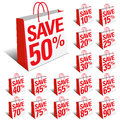 Save Shopping Icon Bags with Percentage Discount Royalty Free Stock Photography