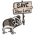 Save slow loris cartoon animal protesting holding a placard Royalty Free Stock Images
