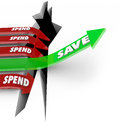 Save vs spend arrow rising saving money future investment rises above a financial pitfall or hole while arrows with word fall into Stock Image