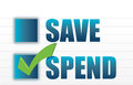 Save vs spend checkmark selection Royalty Free Stock Image