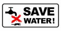 Save water sign Royalty Free Stock Photo