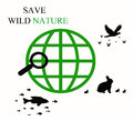 Save wild nature s ilustration with sign Stock Photography