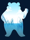 Save the wold sign with polar bear illustration Royalty Free Stock Photos