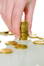 Save woman with stack of coins in money a stacked for the future Stock Photos