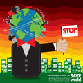 Save world conceptual illustration vector eps Stock Photos