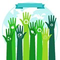 Save world ecology environmental concept. Green hands and blue Planet Royalty Free Stock Photo