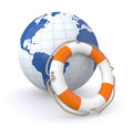Save the world one lifesaver with a globe d render Stock Photography