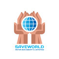 Save World - vector logo template concept illustration in flat style. Globe sign in abstract human hands. Creative sign.