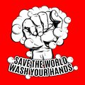 Save the World wash your hands. Vector hand drawn illustration of human fist with soap bubble isolated.