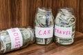 Saving dollar bills Royalty Free Stock Photo