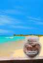 Saving for dream vacation pennies retirement or concept Stock Image