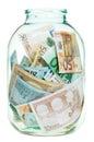 Saving euro money in glass jar Royalty Free Stock Photo