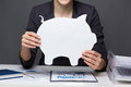 Saving money hands of businesswoman holding paper piggy Stock Image