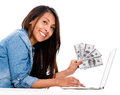Saving money online woman shopping and isolated over a white background Royalty Free Stock Photo