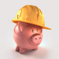 Saving money piggy bank protected with hard hat clipping path included Stock Photos
