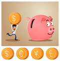Saving money into piggybank an office worker smiling Royalty Free Stock Photos