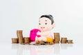 Saving moneys plan for life on white background Stock Photography