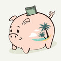 Saving for vacation vector illustration of a piggy bank with palm beach on one side Royalty Free Stock Photography