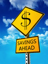Savings ahead concept road sign depicting low prices on retail retirement in your future or investment planning Royalty Free Stock Photography