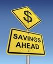 Savings ahead road sign 3d illustration Royalty Free Stock Photo