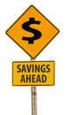 Savings ahead sign Stock Photo