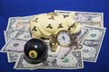 time money pool ball piggy bank Royalty Free Stock Photo