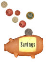 Savings money box, piggy bank - UK, isolated over white Stock Images