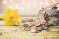 Savings money jar savings motivational concept