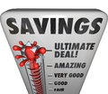 Savings thermometer store sale discount bargain deal level word on a measuring the of or you can find at a or clearance event Stock Images