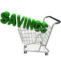 Savings - Word in Shopping Cart Stock Images