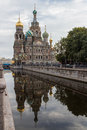Savior on blood church of the spilled reflected in water st petersburg russia Stock Photos