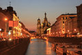 Savior on the spilled blood st petersburg russia city of griboedova canal panorama of sights of white night night Royalty Free Stock Photo