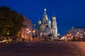 Saviour's cathedral on Blood to St. Petersburg at night Royalty Free Stock Images